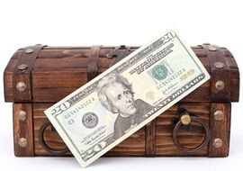 20 dollars banknote and wooden box