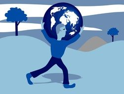 painted man carrying the globe