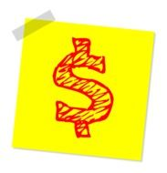 Dollar on the yellow drawing