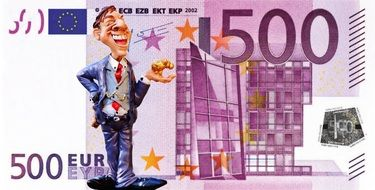 figure of businessman on money background