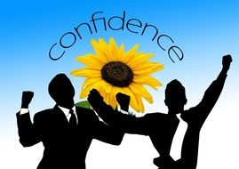 businessmen silhouettes on sunflower background