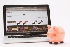 Piggy Bank and laptop