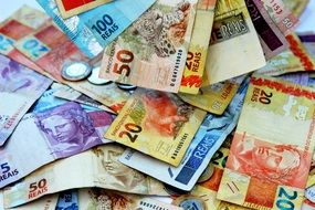 pile of Brazilian banknotes