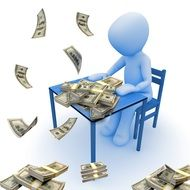 Man with the dollars on the table clipart