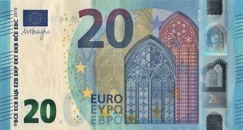 blue banknote of 20 euro