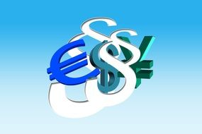 colorful Euro, Dollar and Yen currency symbols together at blue background