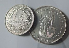 Swiss Francs, two coins