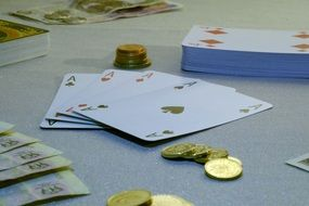 game Cards and Money on table, Poker