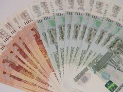 Russian money in the form of a fan