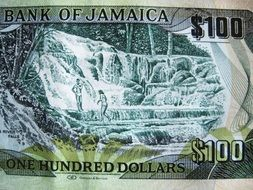 banknote of jamaican dollar closeup