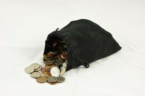 black bag with pennies
