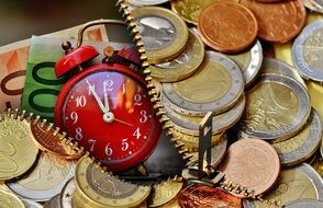 wallpaper with red alarm clock and euro coins