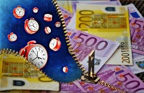 background with red alarm clocks and euro banknotes
