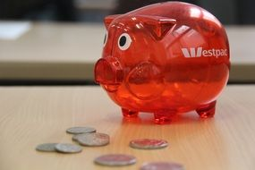 red glass piggy bank