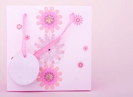 gift bag with pink flowers