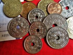variety of danish coins close up