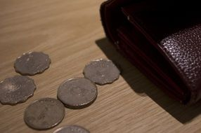 coins near the wallet on the table