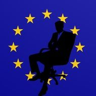 silhouette of a businessman on the blue background