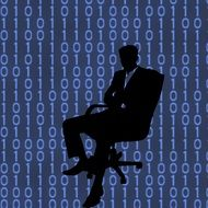 businessman in chair on the binary codes background