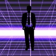businessman silhouette on the purple background