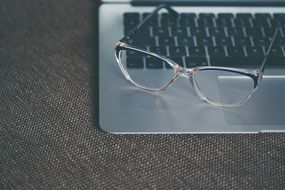Eyeglasses on the laptop