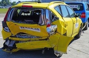 yellow car after an accident