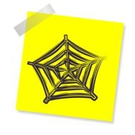 Web, drawing on yellow paper, Network symbol