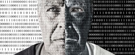 man\'s face among the digits of the binary code