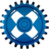 blue gear on a white background
