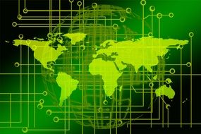 green world map on green background