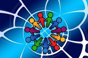 colorful Person Silhouettes holding hands, Networking concept