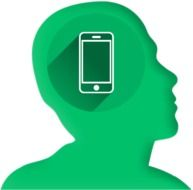 Green icon of internet addicted person