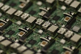 microchips on the motherboard close-up