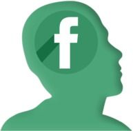 facebook in head as a green silhouette