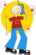 cartoon image of a man with a mobile phone