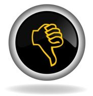 Black icon of thumb down