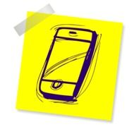 drawing of a smartphone on a yellow sheet of paper