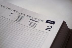 Calendar in the notebook