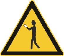 warning shield about people with smartphones