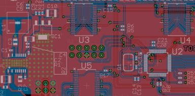 Layout of Electronics Chips on red Board
