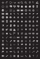 variety of web icons on black background