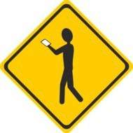 yellow shield with man with smartphone