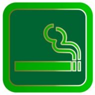 smoking cigarette on a green pictogram
