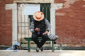 gondolier with Mobile Phone