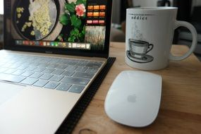 laptop, white mouse and a cup of coffee