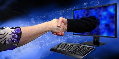 Shaking hands through the computer monitor