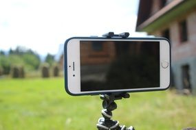 phone on a tripod for shooting