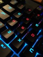black keyboard in colorful backlight