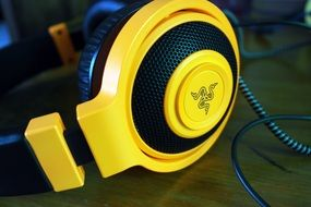 headphones with yellow accents