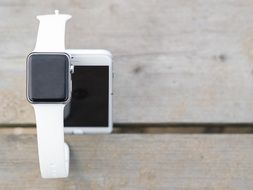 white modern Iphone and Iwatch